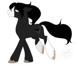 Size: 1987x1670 | Tagged: safe, artist:stagetechyart, oc, oc only, oc:black diamond, earth pony, earth pony oc, floppy ears, looking back, male, simple background, smiling, solo, transparent background, trotting