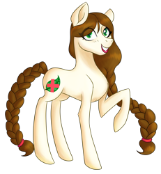 Size: 2500x2700 | Tagged: safe, artist:puddingskinmcgee, oc, pony, braid, braided tail, female, looking at you, mare, one hoof raised, simple background, smiling, solo, transparent background