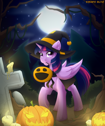 Size: 2160x2610 | Tagged: safe, artist:strafe blitz, twilight sparkle, alicorn, pony, unicorn, candle, cape, clothes, costume, ear fluff, female, forest, full moon, gravestone, halloween, halloween costume, hat, high res, holiday, jack-o-lantern, moon, mouth hold, nightmare night, pumpkin, pumpkin bucket, sky, solo, tombstones, tree, tree branch, twilight sparkle (alicorn), witch, witch hat