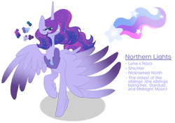 Size: 1280x903 | Tagged: safe, artist:magicuniclaws, oc, oc:northern lights, alicorn, hybrid, colored wings, colored wingtips, female, magical lesbian spawn, mare, offspring, parent:princess luna, parent:queen novo, simple background, solo, transparent background