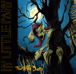 Size: 3241x3160 | Tagged: safe, artist:mixdaponies, fluttershy, album cover, dead tree, fear of the dark, female, females only, fluttershy is a tree, fused, heavy metal, iron maiden, nightmare moon moon, parody, tree