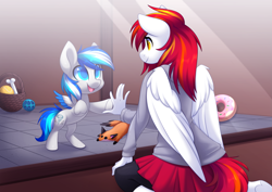 Size: 5261x3722   Tagged: safe, artist:scarlet-spectrum, oc, oc:diamond sun, oc:hawker hurricane, pegasus, pony, anthro, series:pet hawk, alternate universe, anthro with ponies, clothes, colt, commission, female, hawkmond, kneeling, male, mare, smiling, solo