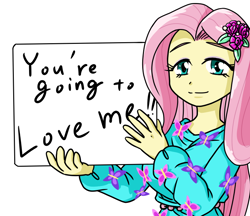 Size: 740x640 | Tagged: safe, artist:batipin, fluttershy, equestria girls, looking at you, sign, simple background, solo, white background, you're going to love me