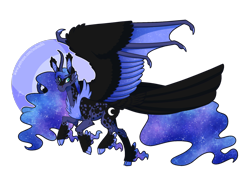 Size: 2100x1500 | Tagged: safe, artist:inuhoshi-to-darkpen, princess luna, alicorn, bat pony, bat pony alicorn, pony, alternate design, bat ears, bat wings, cloven hooves, curved horn, ear fluff, ethereal mane, horn, neck fluff, redesign, simple background, solo, starry mane, tail feathers, transparent background, unshorn fetlocks, wing claws, wings