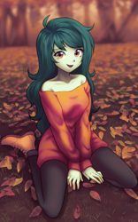 Size: 900x1440 | Tagged: safe, artist:rileyav, wallflower blush, equestria girls, adorasexy, autumn, autumn leaves, bare shoulders, beautiful, boots, clothes, cute, dress, female, flowerbetes, freckles, happy, kneeling, leaf, leggings, looking at you, pantyhose, sexy, shoes, smiling, smiling at you, solo, strapless dress, sweater dress, sweet dreams fuel, wallflower and plants