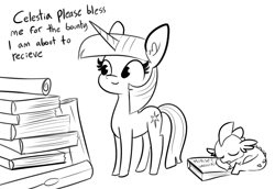 Size: 2088x1440 | Tagged: safe, artist:tjpones, spike, twilight sparkle, dragon, pony, unicorn, black and white, blessing, book, bookhorse, cute, duo, female, grayscale, lineart, male, mare, monochrome, scroll, simple background, sleeping, spikabetes, that pony sure does love books, twiabetes, unicorn twilight, white background