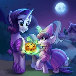 Size: 2000x2000 | Tagged: safe, artist:jedayskayvoker, artist:shadowreindeer, rarity, sweetie belle, mermaid, pony, unicorn, clothes, collaboration, costume, cute, daaaaaaaaaaaw, diasweetes, dress, female, glowing horn, halloween, holiday, horn, jack-o-lantern, levitation, magic, magic aura, mermarity, moon, night, nightmare night, nightmare night costume, princess, princess costume, pumpkin bucket, raribetes, siblings, sisters, sweetie belle's magic brings a great big smile, telekinesis