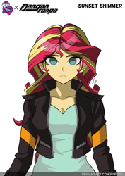 Size: 1060x1500 | Tagged: safe, artist:pyropk, sunset shimmer, equestria girls, alternate artstyle, breasts, cleavage, crossover, danganronpa, solo