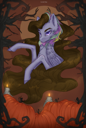 Size: 1351x2000 | Tagged: safe, artist:lovely-pony, oc, pegasus, pony, candle, pumpkin, solo