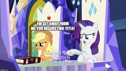 Size: 889x500 | Tagged: safe, artist:dex stewart, edit, edited screencap, screencap, applejack, rarity, pony, fame and misfortune, caption, credits, friendship journal, image macro, m.a. larson, meme, meta humor, text, tv rating, tv-y