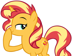 Size: 1280x1006 | Tagged: safe, artist:andoanimalia, edit, editor:drakeyc, sunset shimmer, pony, unicorn, equestria girls, equestria girls series, forgotten friendship, absurd resolution, boop, cutie mark, female, looking back, self-boop, simple background, smiling, smirk, solo, transparent background, vector