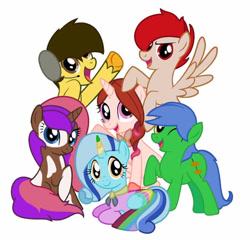 Size: 720x691 | Tagged: artist needed, safe, oc, oc:staticspark, earth pony, blue mane, female, group, male, mare, stallion
