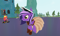 Size: 1280x768 | Tagged: safe, screencap, oc, oc:nightshade, bat pony, pony, legends of equestria, clothes, dress, fangs, game, hat, pirate hat, steampunk