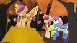 Size: 1280x720 | Tagged: safe, artist:schumette14, apple bloom, scootaloo, sweetie belle, earth pony, pegasus, pony, unicorn, autumn, autumn leaves, clothes, cutie mark crusaders, falling leaves, female, filly, forest, leaf, leaf pile, scarf