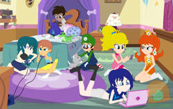 Size: 1000x631 | Tagged: safe, artist:mlp-lolada, artist:selenaede, dog, human, equestria girls, banjo kazooie, banjo the bear, barefoot, barely eqg related, base used, bed, bedroom, blanket, byleth, cap, clothes, computer, controller, crossover, crown, ear piercing, earring, equestria girls style, equestria girls-ified, feet, fire emblem, fire emblem: awakening, fire emblem: three houses, gamecube, gamecube controller, gloves, hat, jewelry, jewelry box, lamp, laptop computer, lucina, luigi, luigi's hat, minecraft, necklace, nintendo, nintendo 2ds, overalls, petting, phone, picture, picture frame, piercing, pillow, playing games, princess daisy, princess peach, regalia, shirt, socks, steve, super mario bros., super smash bros., super smash bros. ultimate, undershirt, video game