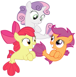 Size: 9000x9200 | Tagged: safe, artist:tardifice, apple bloom, scootaloo, sweetie belle, pony, seapony (g4), absurd resolution, cutie mark crusaders, sea-mcs, seaponified, seapony apple bloom, seapony scootaloo, seapony sweetie belle, simple background, species swap, transparent background, vector