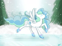 Size: 1600x1200 | Tagged: safe, artist:izzyfredpony, oc, oc:sky skater, pegasus, day, eyes closed, female, ice skates, ice skating, mare, pegasus oc, snow, snowfall, solo, wings, winter