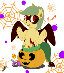 Size: 1979x2269 | Tagged: safe, artist:shappy the lamia, oc, oc:shappy, demon, demon pony, earth pony, hybrid, lamia, monster girl, monster pony, original species, pony, vampire, candy, chibi, clothes, costume, cute, demon tail, demon wings, fangs, food, frog (hoof), halloween, halloween costume, holiday, hooves up, jack-o-lantern, lollipop, long tail, mask, monster, nightmare night, nightmare night costume, pumpkin, pumpkin bucket, red eyes, roar, scales, short mane, slit eyes, snake eyes, snake tail, snarling, spider web, stain, underhoof, wings