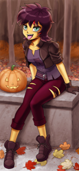 Size: 918x2000 | Tagged: safe, artist:johnjoseco, sunset shimmer, vampire, costume conundrum, equestria girls, equestria girls series, spoiler:choose your own ending (season 2), spoiler:eqg series (season 2), adorasexy, autumn leaves, belt, boots, breasts, busty sunset shimmer, clothes, converse, costume, cute, fangs, female, forest, gloves, halloween, halloween costume, holiday, jack-o-lantern, leaf, leaves, lidded eyes, looking at you, open mouth, pumpkin, sexy, shoes, sitting, solo, tongue out, tree, vampire shimmer, wig