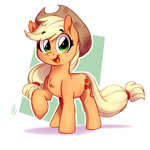 Size: 1358x1359 | Tagged: safe, artist:theart_ofvago, applejack, earth pony, pony, abstract background, chest fluff, cute, eye clipping through hair, eyebrows visible through hair, female, jackabetes, mare, open mouth, raised hoof, smiling at you, solo