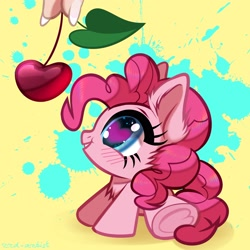 Size: 3000x3000   Tagged: safe, artist:rrd-artist, pinkie pie, earth pony, pony, blushing, cheek fluff, cherry, chest fluff, chibi, cute, diapinkes, ear fluff, female, food, heart eyes, high res, looking at something, mare, offscreen character, offscreen human, profile, sitting, tiny, tiny ponies, weapons-grade cute, wingding eyes