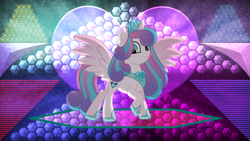 Size: 3840x2160 | Tagged: safe, artist:laszlvfx, artist:pumpkinpieforlife, edit, princess flurry heart, alicorn, pony, armor, cutie mark, female, high res, mare, older, older flurry heart, raised hoof, smiling, solo, wallpaper, wallpaper edit