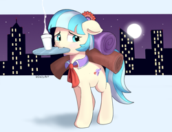 Size: 871x671 | Tagged: safe, artist:vinilyart, coco pommel, earth pony, pony, city, cityscape, cocobetes, cute, female, floppy ears, mare, mouth hold, solo