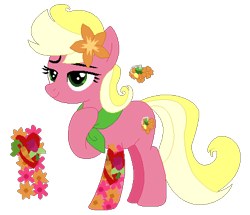 Size: 466x401 | Tagged: safe, artist:acuteexposure, artist:painterede, artist:selenaede, artist:strawberry-spritz, oc, oc only, oc:floral fragrance (ice1517), earth pony, pony, base used, clothes, female, flower, flower in hair, magical lesbian spawn, mare, offspring, parent:carrot top, parent:roseluck, parents:carrotluck, raised hoof, scarf, simple background, solo, tattoo, transparent background