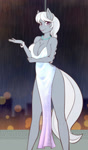 Size: 1402x2400 | Tagged: safe, artist:scorpdk, silver spoon, earth pony, anthro, absolute cleavage, adorasexy, arm boob squeeze, arm under breasts, backless, beautiful, beautisexy, big breasts, boob window, bracelet, braid, breasts, busty silver spoon, chest fluff, cleavage, clothes, cute, dress, ear fluff, eyelashes, female, gray coat, grey hair, huge breasts, jewelry, legs, looking at you, mare, missing accessory, necklace, night, no bra underneath, older, older silver spoon, open mouth, outdoors, pearl necklace, pink eyes, rain, schrödinger's pantsu, sexy, side slit, silverbetes, skimpy clothing, solo, stupid sexy silver spoon, thighs, total sideslit, white hair
