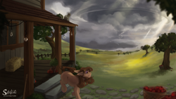 Size: 1920x1080 | Tagged: safe, artist:silentwulv, oc, oc only, earth pony, pony, apple, basket, cloud, dark clouds, food, fruit, grass, hay bale, house, scenery, scenery porn, solo, storm, sunlight, tree