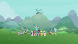 Size: 1920x1080 | Tagged: safe, screencap, applejack, flash magnus, fluttershy, gallus, meadowbrook, mistmane, ocellus, pinkie pie, rainbow dash, rarity, rockhoof, sandbar, silverstream, smolder, somnambula, spike, star swirl the bearded, twilight sparkle, yona, alicorn, dragon, earth pony, pegasus, yak, the ending of the end, mane six, pillars of equestria, student six, twilight sparkle (alicorn), winged spike