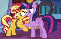 Size: 900x579 | Tagged: safe, screencap, sunset shimmer, twilight sparkle, the ending of the end, cropped