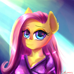 Size: 2000x2000 | Tagged: safe, artist:cali luminos, fluttershy, anthro, breasts, bust, cleavage, clothes, cute, digital art, drawing, female, looking at you, mona lisa, shyabetes, signature, solo