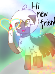 Size: 1080x1440 | Tagged: safe, artist:starflashing twinkle, earth pony, candle, candlelight, cloak, clothes, cute, eye, eyes, grassland, open mouth, rainbow, sky:children of light