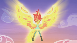 Size: 1920x1080 | Tagged: safe, screencap, sunset shimmer, equestria girls, my past is not today, rainbow rocks, female, fiery shimmer, fiery wings, fire hair, floating, happy, mane of fire, singing, smiling, solo, sunset phoenix, wings
