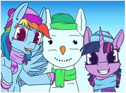 Size: 1400x1039 | Tagged: safe, artist:dacaoo, rainbow dash, twilight sparkle, alicorn, pegasus, pony, carrot, clothes, duo, food, hat, scarf, snowmare, snowpony, winter