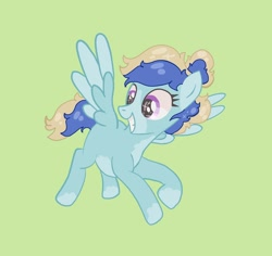 Size: 1080x1018 | Tagged: safe, artist:dellieses, oc, oc only, pegasus, pony, base used, eyelashes, female, green background, grin, looking down, mare, pegasus oc, simple background, smiling, solo, two toned wings, wings