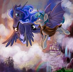 Size: 1333x1318 | Tagged: safe, alternate version, artist:aerosaur83, princess luna, stygian, alicorn, bat wings, blushing, canterlot castle, cloud, eye contact, female, flying, looking at each other, male, mare, rainbow, romantic, shipping, stallion, story:loving darkness, straight, styuna, waterfall, winged unicorn, wings