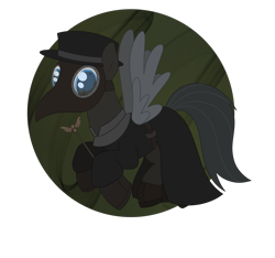 Size: 2223x2077 | Tagged: safe, artist:dyonys, oc, oc:tanner, pegasus, cane, clothes, costume, flying, halloween, halloween costume, hat, holiday, male, nightmare night, plague doctor, plague doctor mask, simple background, stallion, transparent background