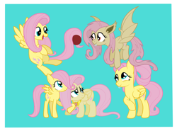 Size: 2726x2022 | Tagged: safe, artist:squipycheetah, part of a set, fluttershy, bat pony, pegasus, pony, bats!, the last problem, bat ponified, buckball, cute, element of kindness, fangs, female, filly, filly fluttershy, flutterbat, flying, folded wings, happy, hug, mare, multeity, nervous, older, older fluttershy, race swap, raised hoof, self paradox, self ponidox, shy, shyabates, shyabetes, simple background, smiling, so much flutter, teal background, time paradox, wings, younger, younger fluttershy