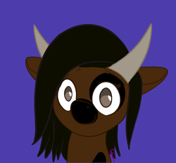 Size: 720x665 | Tagged: safe, artist:inkynotebook, part of a set, oc, oc only, pony, blue background, bust, commission, horns, signature, simple background, smiling, solo, ych result