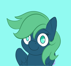 Size: 720x665 | Tagged: safe, artist:inkynotebook, part of a set, oc, oc only, pegasus, pony, bust, commission, pegasus oc, signature, simple background, smiling, solo, wings, ych result