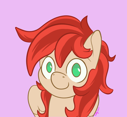 Size: 720x665 | Tagged: safe, artist:inkynotebook, part of a set, oc, oc only, oc:firefly, pegasus, pony, bust, commission, pegasus oc, signature, simple background, smiling, solo, wings, ych result
