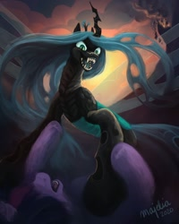 Size: 1024x1280 | Tagged: safe, artist:mayelia, queen chrysalis, twilight sparkle, changeling, changeling queen, pony, backlit, bad end, canterlot, evil grin, female, grin, revenge, ruins, signature, smiling, the bad guy wins