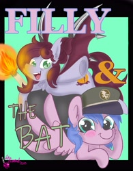 Size: 3075x3950 | Tagged: safe, artist:inkynotebook, oc, oc only, bat pony, pegasus, pony, :d, bat pony oc, bat wings, duo, female, filly, hat, open mouth, pegasus oc, pinkie and the brain, signature, smiling, torch, wings
