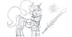 Size: 1920x1007 | Tagged: safe, artist:homicidal doktor, pony, unicorn, armor, solo, sword, weapon