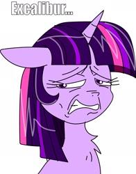 Size: 1825x2331 | Tagged: safe, twilight sparkle, pony, unicorn, excalibur, excalibur face