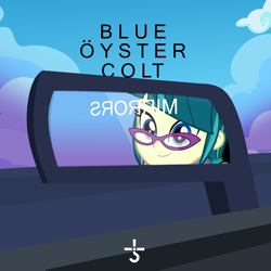 Size: 2000x2000 | Tagged: safe, artist:grapefruitface1, artist:punzil504, juniper montage, equestria girls, album cover, blue oyster cult, car, equestria girls-ified, equestria girls-ified album cover, mirror, road, sky, solo, symbol, vector used