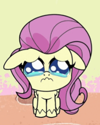 Size: 286x355 | Tagged: safe, screencap, fluttershy, pegasus, pony, death of a sales-pony, my little pony: pony life, spoiler:pony life s01e08, bad quality, crying, cute, daaaaaaaaaaaw, puppy dog eyes, sad, sadorable, shyabetes, small pony