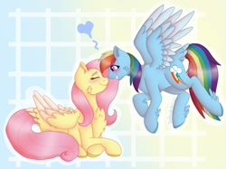 Size: 1200x899 | Tagged: safe, artist:datrandoartist, fluttershy, rainbow dash, pegasus, pony, abstract background, blushing, boop, cheek fluff, chest fluff, crossed hooves, eyes closed, feathered fetlocks, female, flutterdash, lesbian, mare, noseboop, shipping, tail feathers